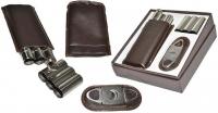 Футляр для двух сигар + гильотина + фляга Angelo 81303