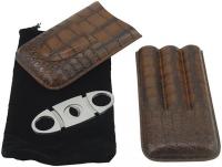 Футляр для трех сигар + гильотина 0408301