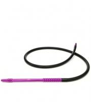 Шланг для кальяна силиконовый с металлической рукояткой Molla1 (чёрный силикон/фиолетовая рукоятка)