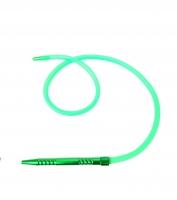Шланг для кальяна силиконовый с металлической рукояткой (зелёный)