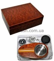 Фото 3 - Хьюмидор для двенадцати сигар + пепельница + гильотина Angelo 920600